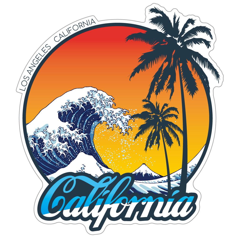 """099 北斎×California? """"California Market Center"""" アメリカンステッカー スーツケース シール"""