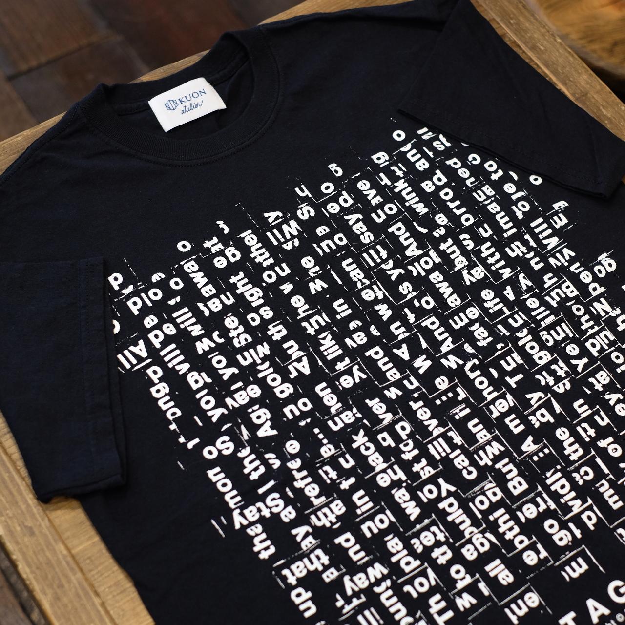 KUON×TAGS WKGPTY 半袖Tシャツ バックロゴ ブラック WOVEN SONG