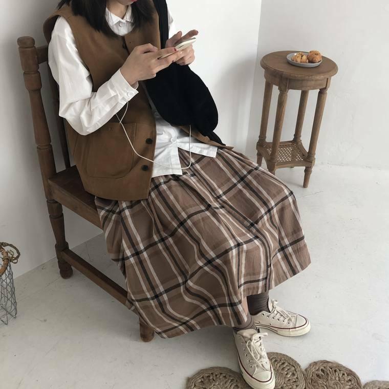 【送料無料】 秋カラー♡ 女っぽ Aライン チェック柄 ミモレ丈 スカート カレッジ風