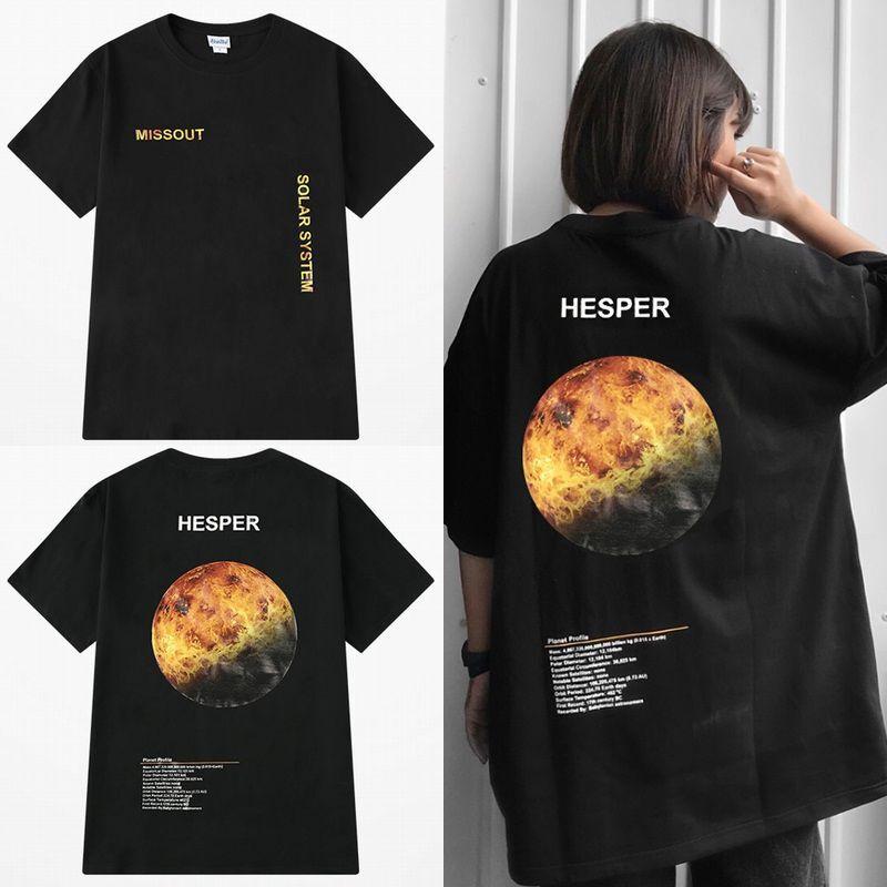 ユニセックス 半袖 Tシャツ メンズ レディース 英字 HEPER 金星 バックプリント オーバーサイズ 大きいサイズ ルーズ ストリート
