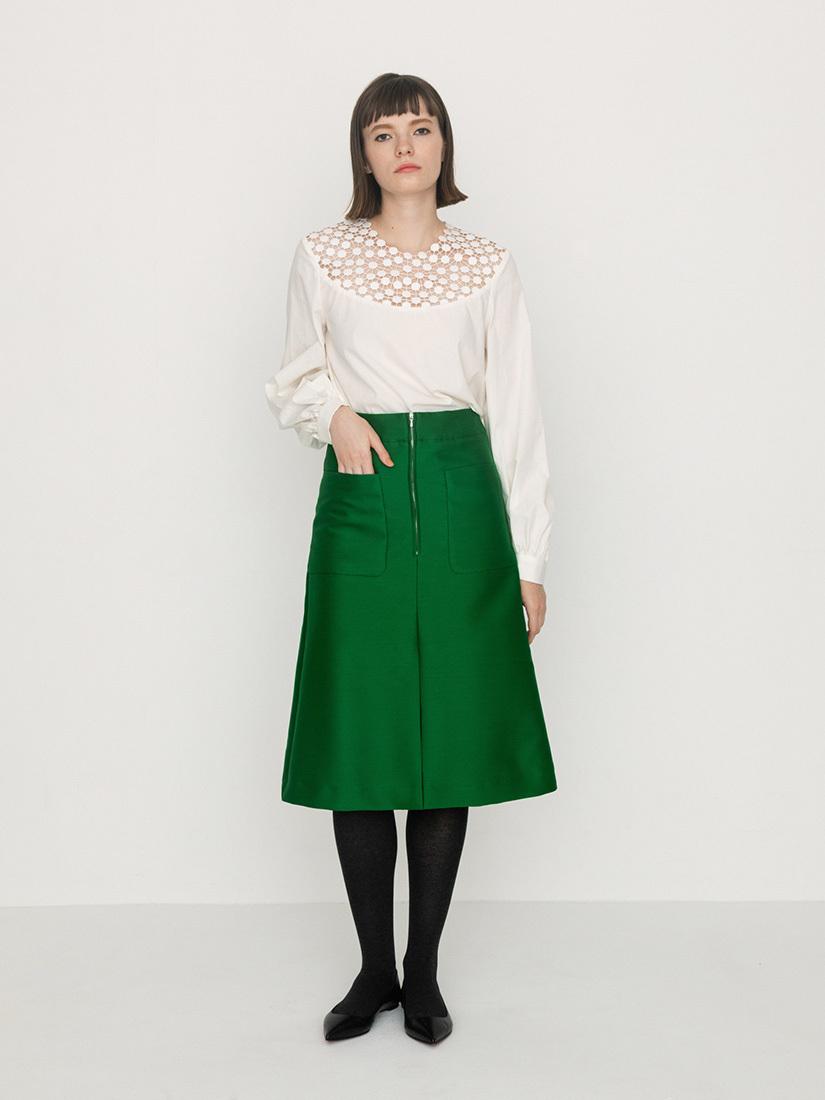 silk wool skirt(green)