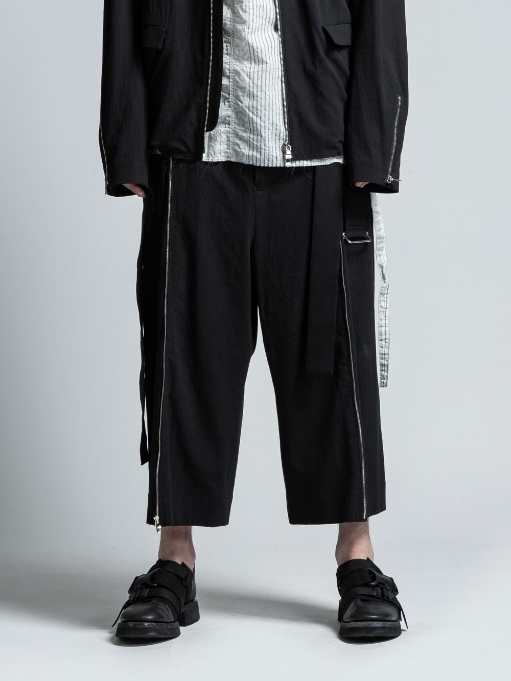 VI-3021-04 / 強撚ワッシャー サイドジップ 袴パンツ