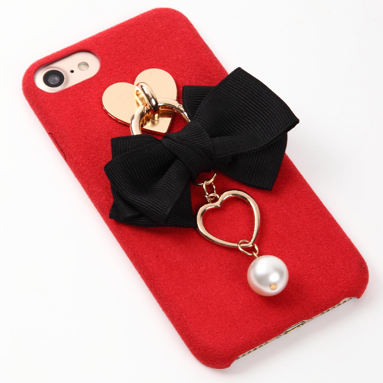 【即納★送料無料】レッドのソフトケース ブラックのリボンにハートとパールのチャーム付iPhoneケース