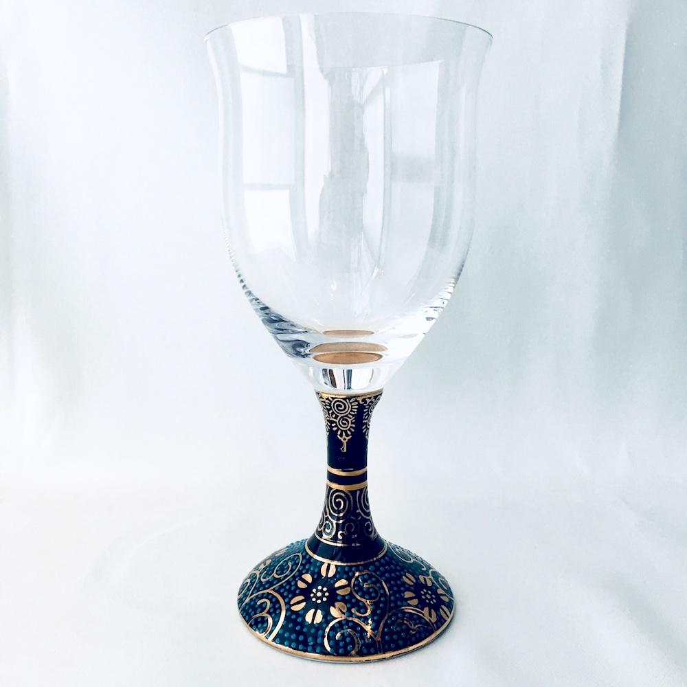 九谷和グラス(ワイングラス) 青粒鉄仙