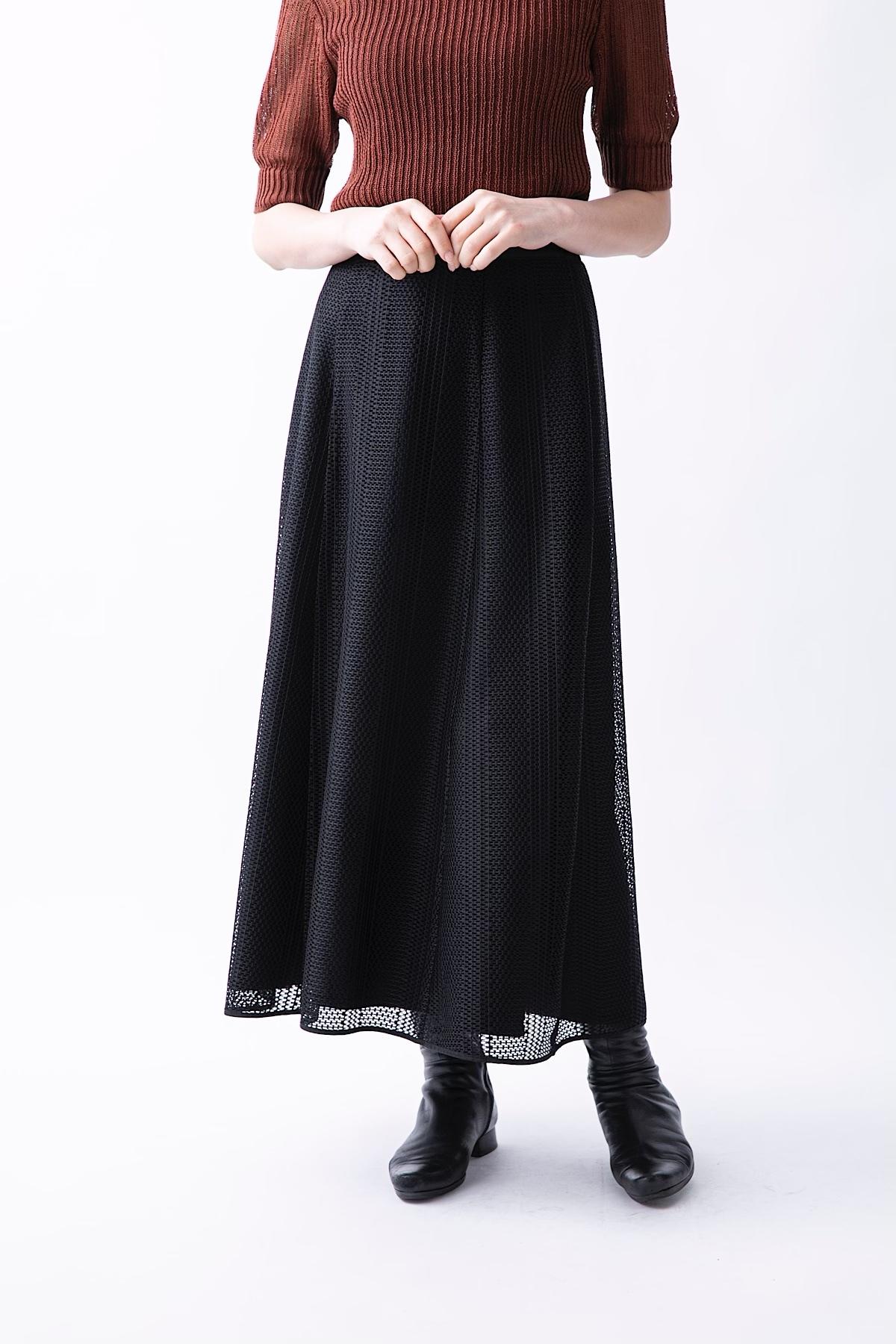 メッシュレースリバーシブルスカート <ブラック>