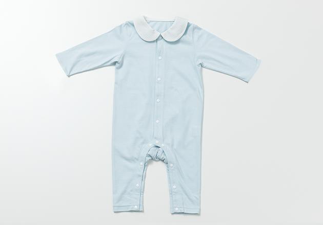 襟つきロンパース ブルー (長袖・足つき)