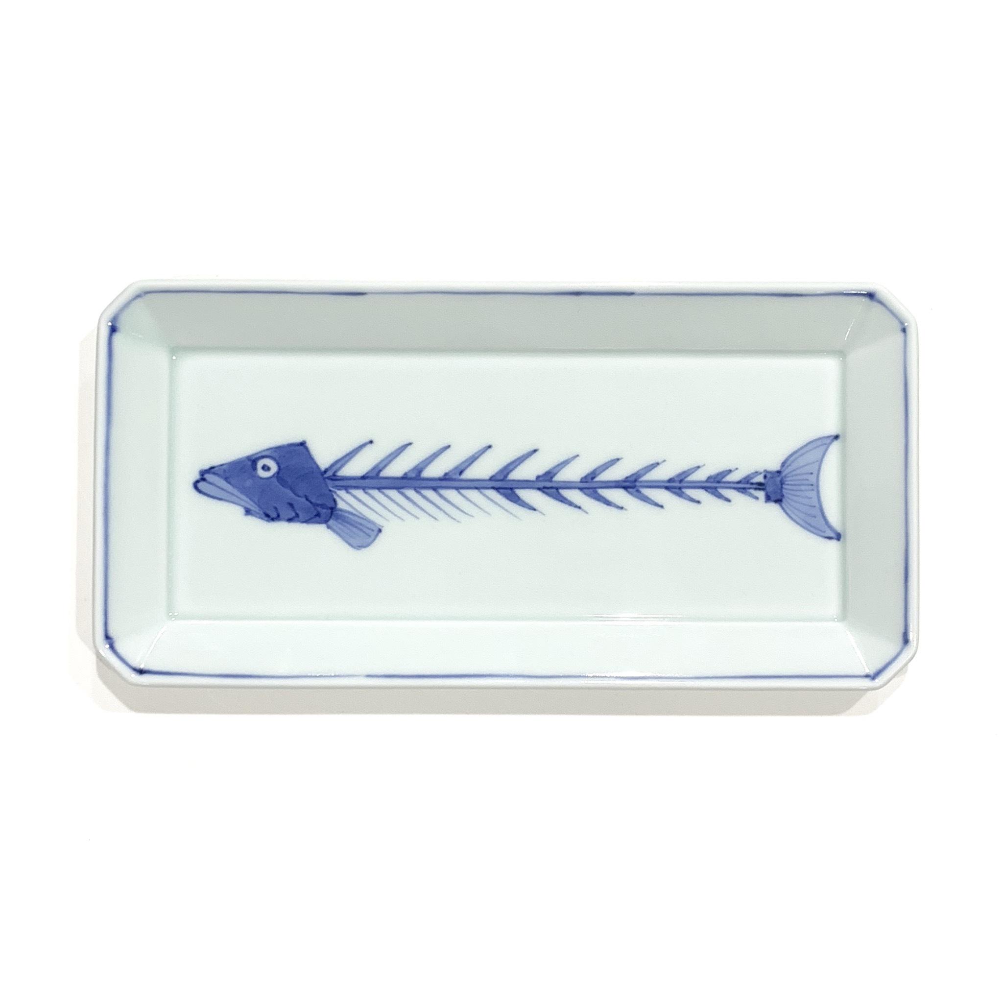 染付魚(骨) 長角皿  中