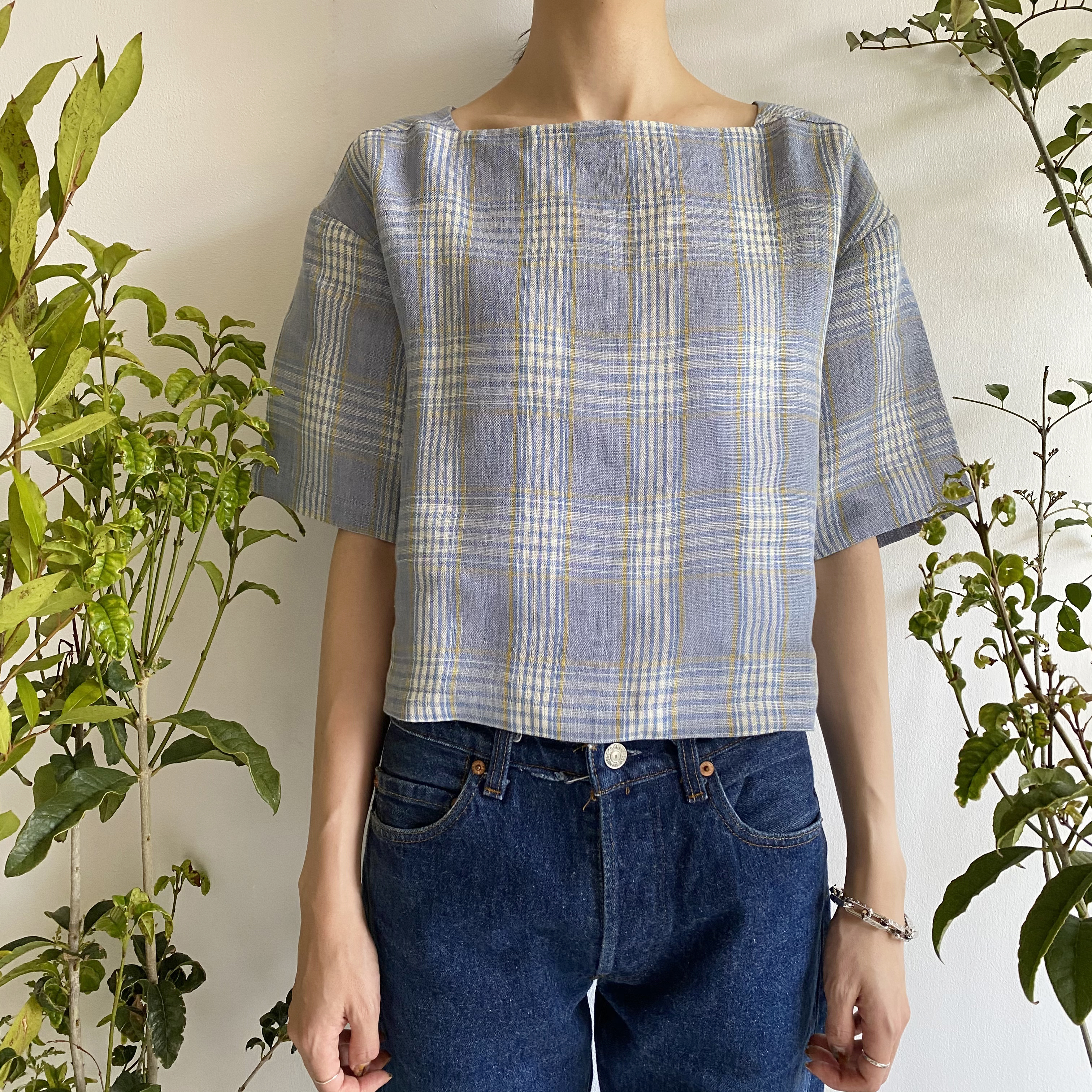 "Square Neck Short Top ""blue & yellow check"""