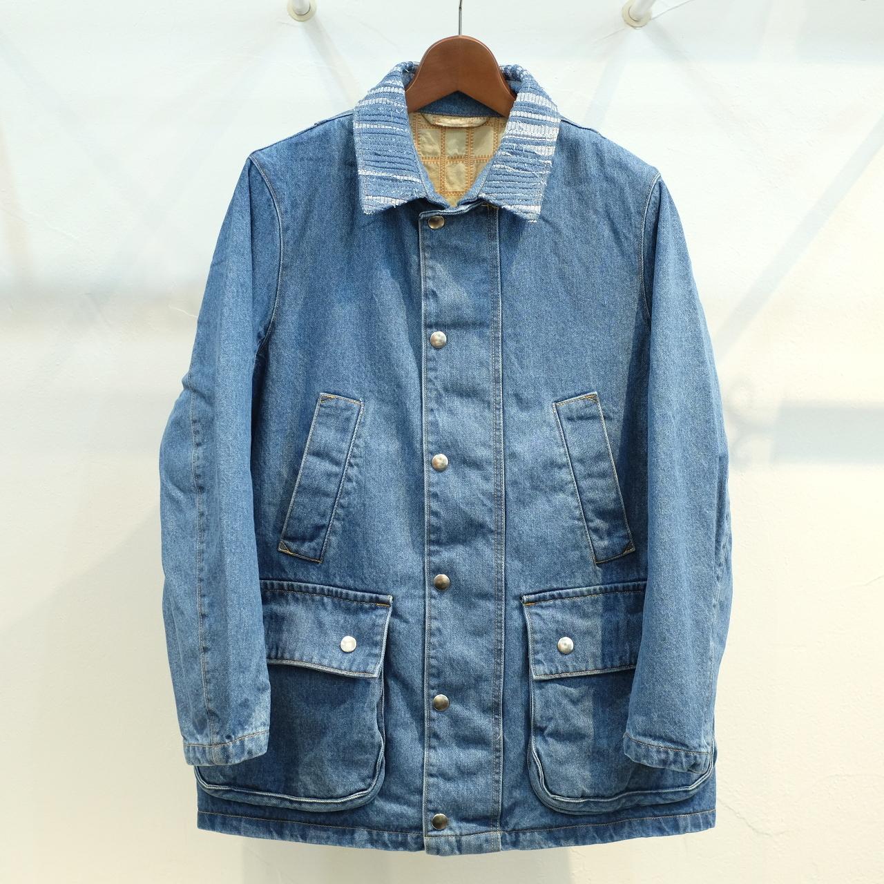 KUON(クオン) 襟裂織りフィールドジャケット(裏吉野格子) デニム
