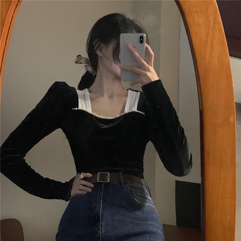 スクエアネックベルベットシャツ【square neck Velvet shirt】