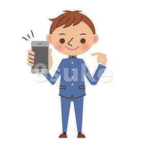 イラスト素材:スマートフォンを持つ男子中学生・高校生(ベクター・JPG)