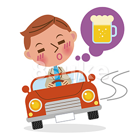 イラスト素材:飲酒運転イメージ/デフォルメ(ベクター・JPG)