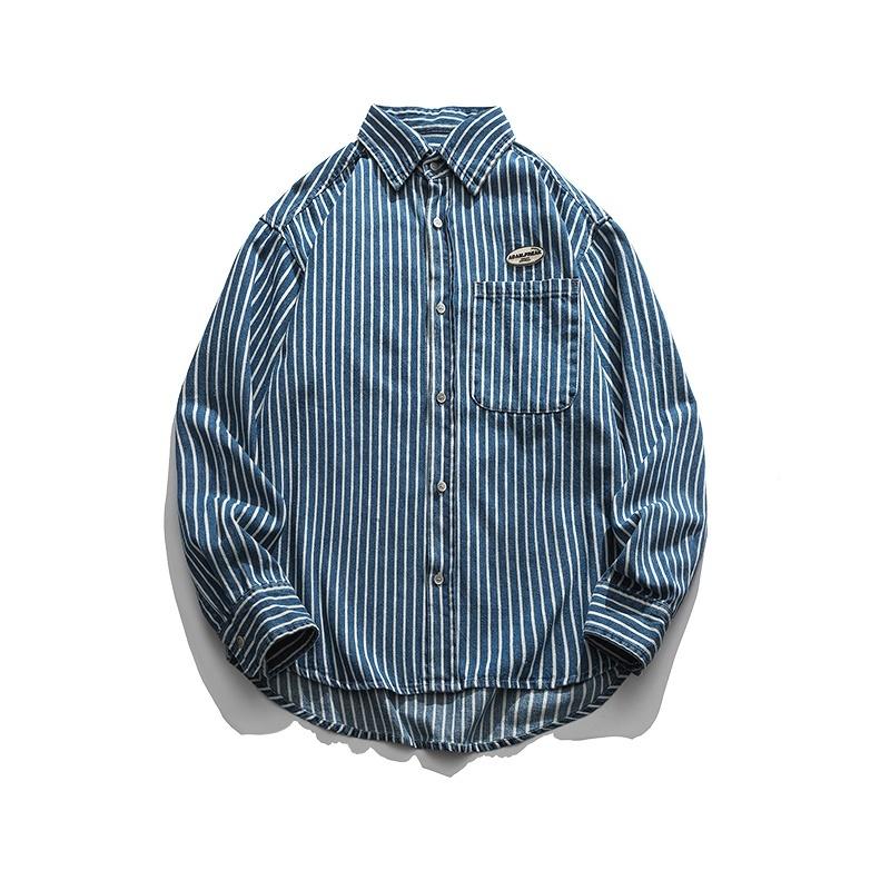 【UNISEX】ブルー ストライプ ロングスリーブシャツ UN-480