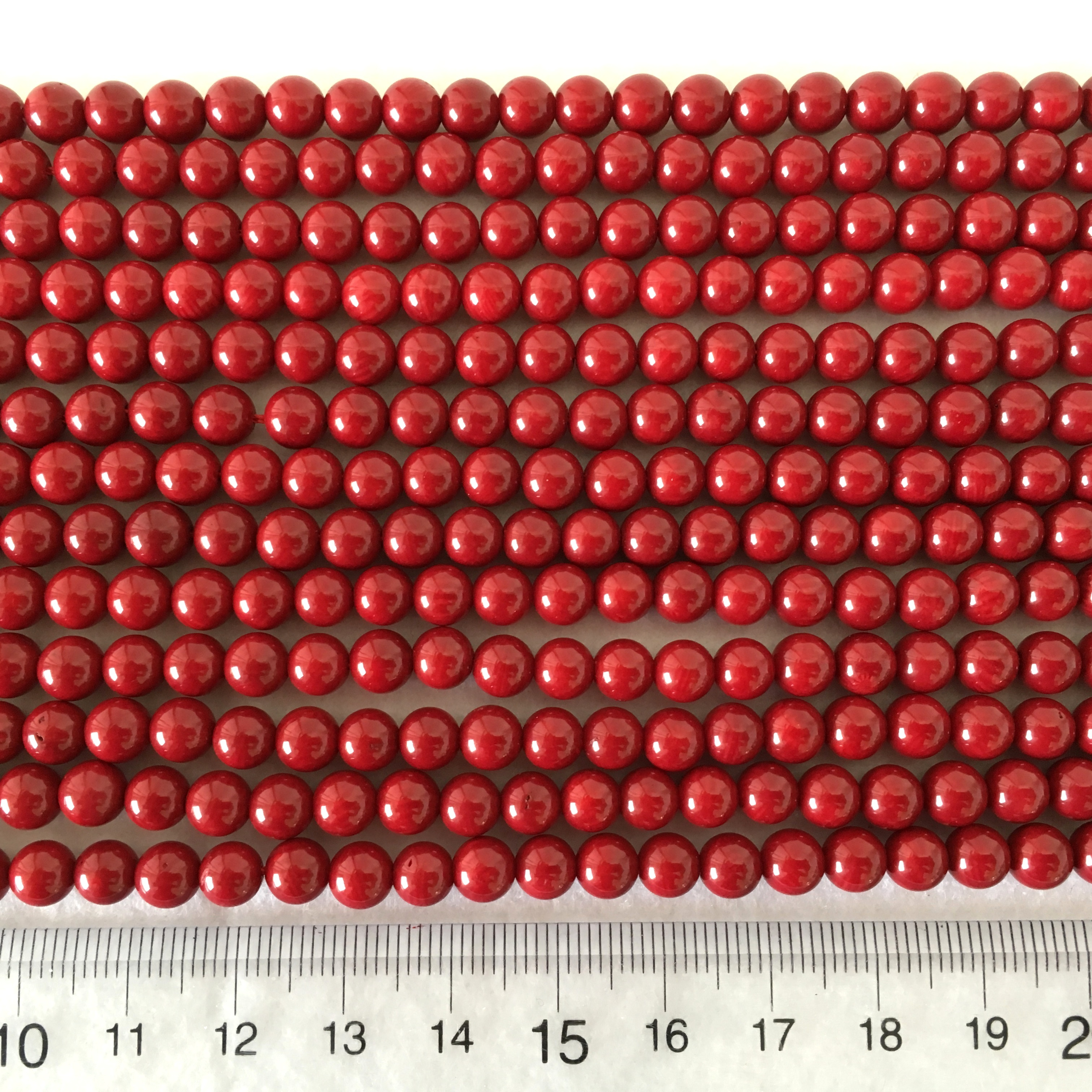赤染サンゴ 約6~6.5㎜ 連材【193150】