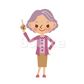 イラスト素材:指差しをするおばあちゃん(ベクター・JPG)