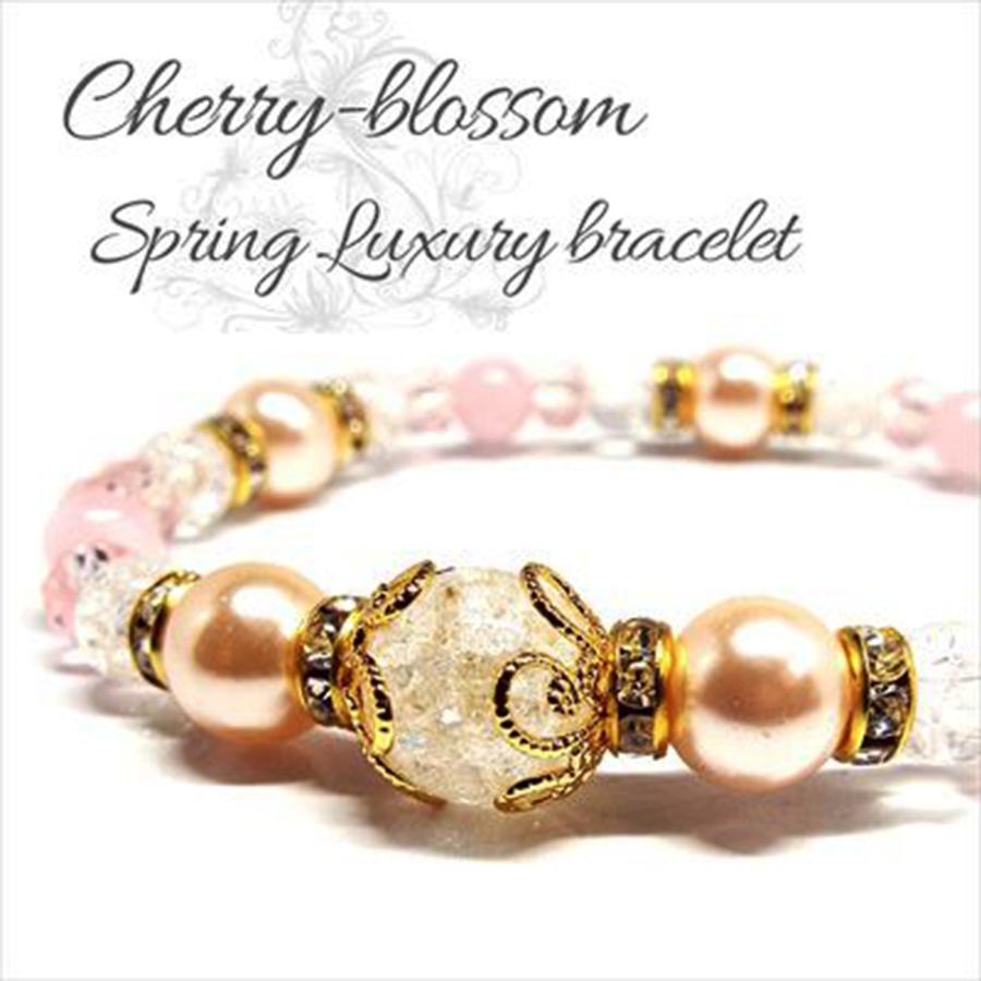 【1番人気の桜ブレス】天然石 クラック水晶&ローズクォーツ ピンクパールブレスレット(10mm)