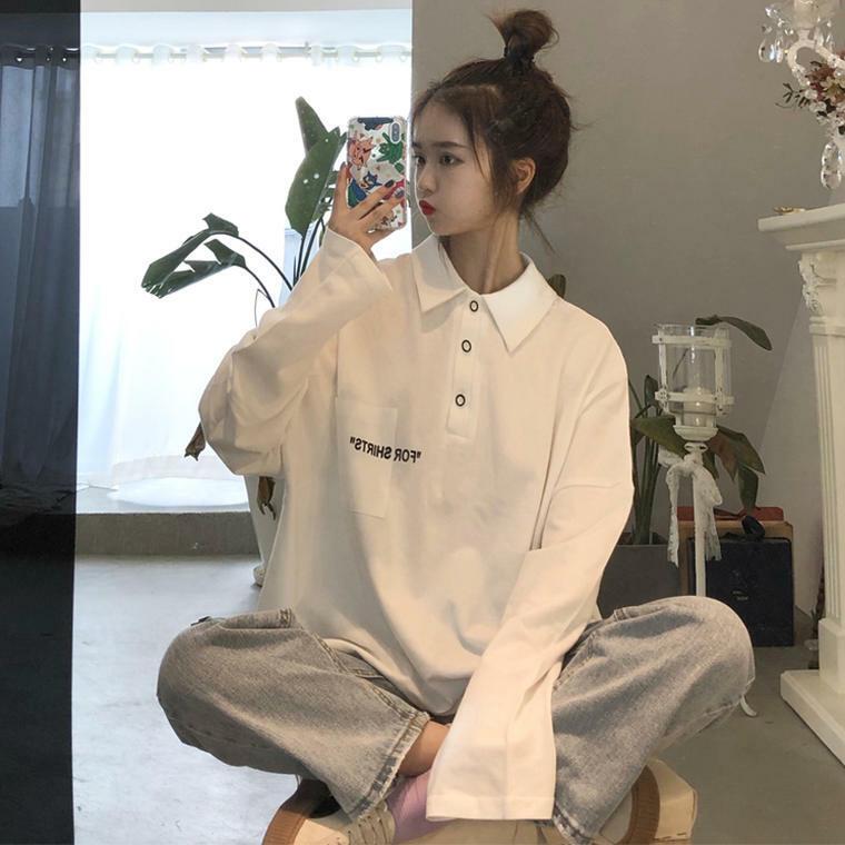 【送料無料】 おしゃれポロシャツ♡ 襟付き 英字ロゴ 長袖 カットソー トップス オーバーサイズ