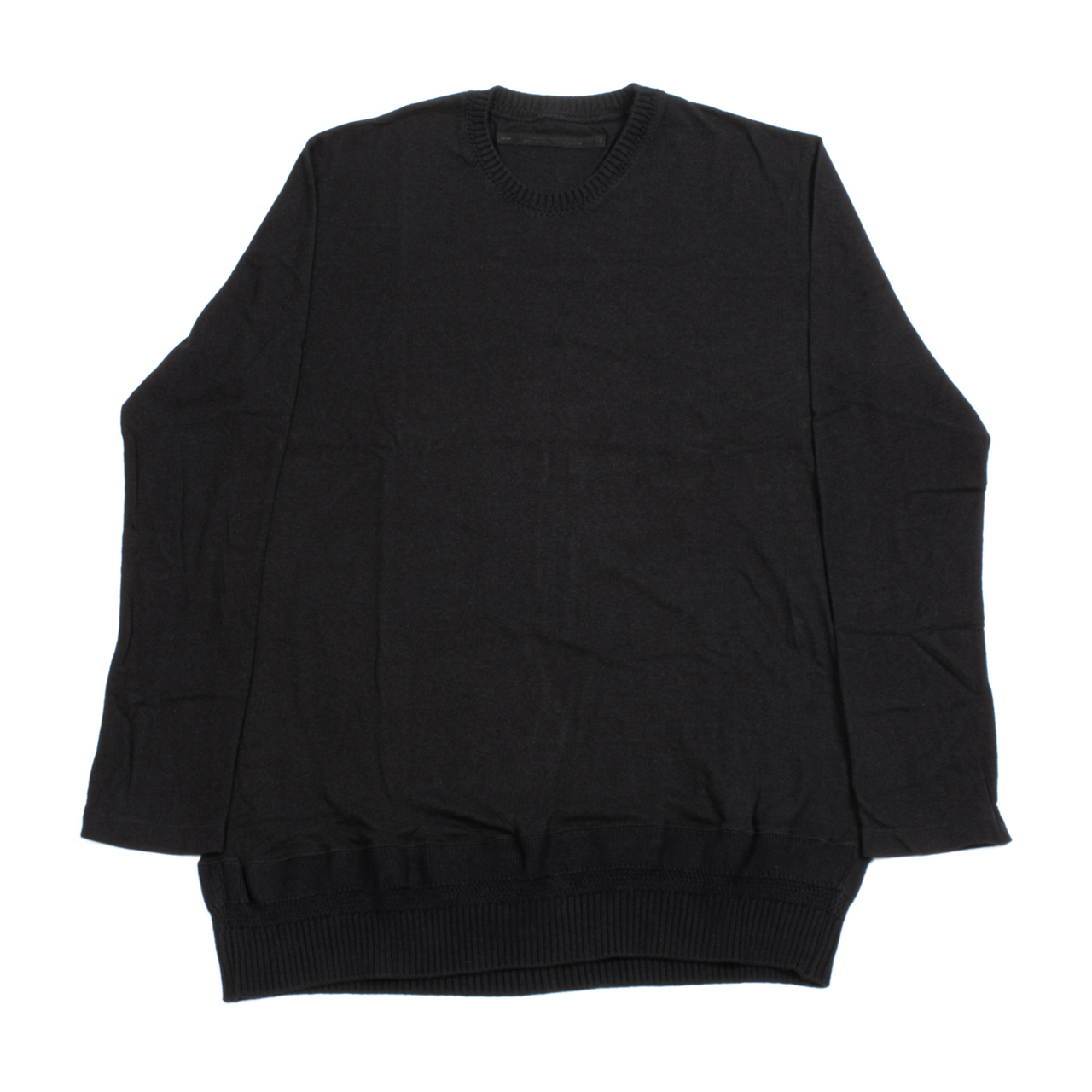 717CUM8-BLACK / ニットスリーブ Tシャツ