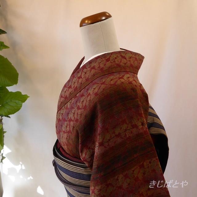 正絹紬 ボルドーに総絞りの小紋 袷