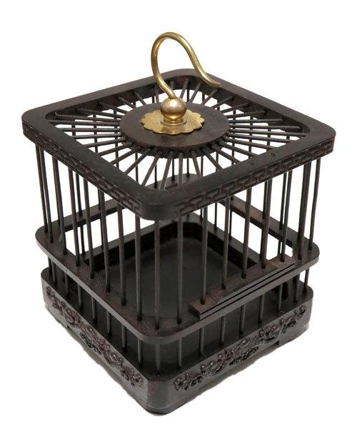 黒檀製虫籠 装飾梁 四角中型