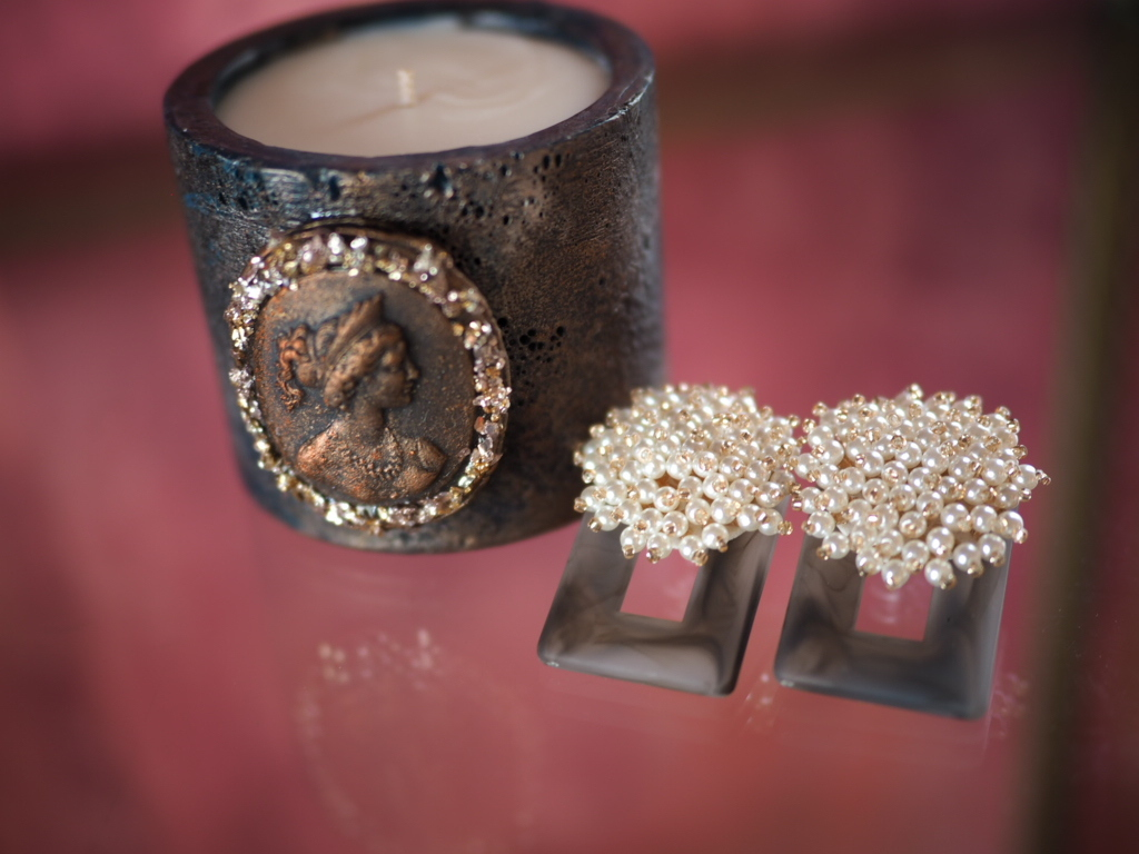 Vintage candle & earring