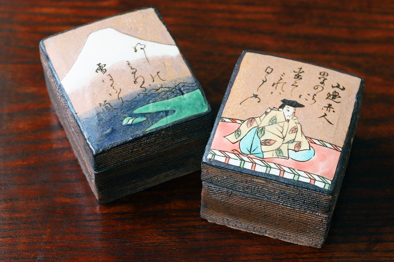 百人一首 組蓋物「 赤部赤人 」 作:水野健一郎・秋艸窯(美濃焼)