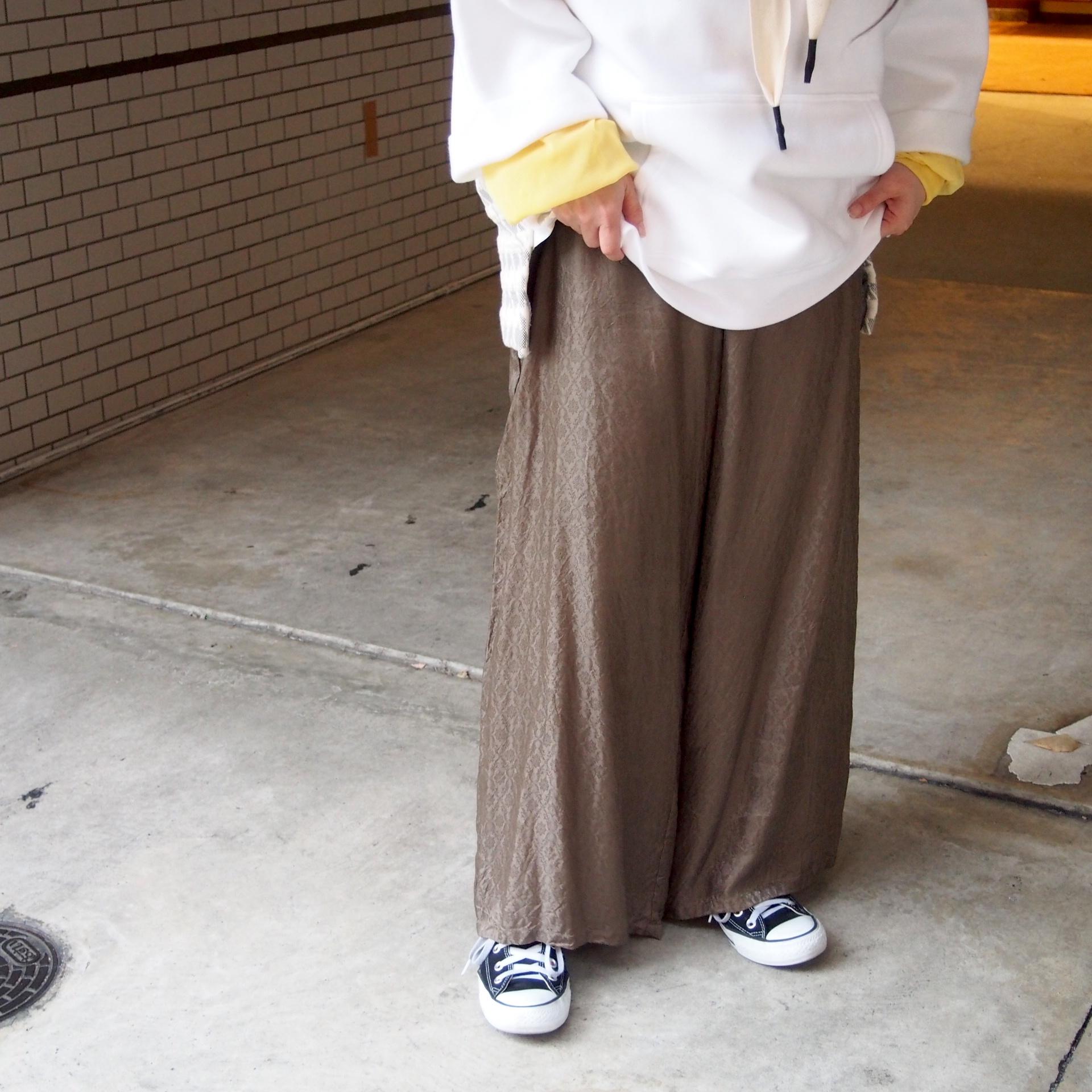 【hippiness】cupro shirring pants (Jacquard9khaki) /【ヒッピネス】キュプラシャーリングパンツ(ジャガード9カーキ)