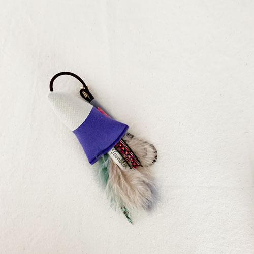 付替用・猫が飛びつくおもちゃ(紫×ホワイトベージュ)