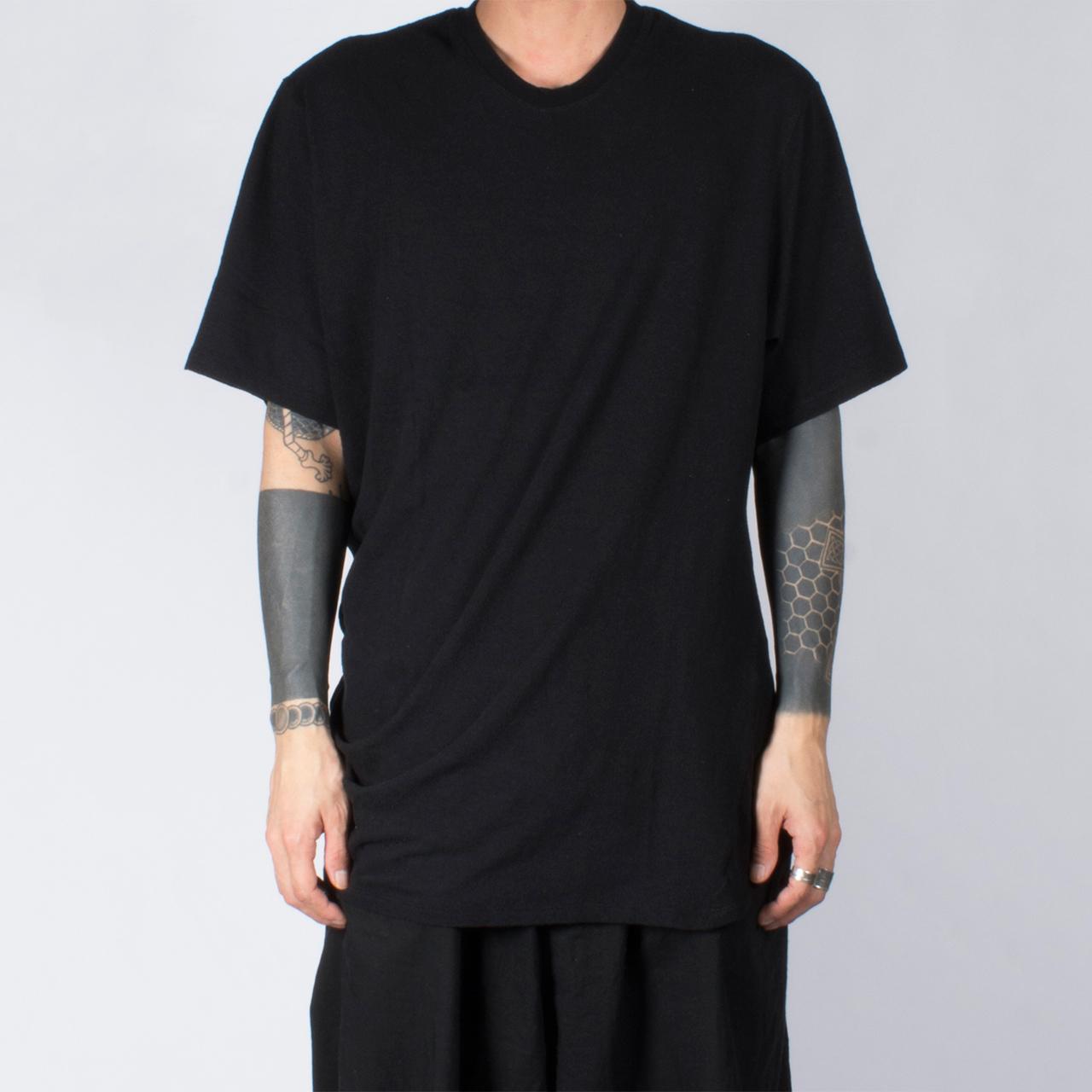 697CUM10-BLACK / サイドドレープ Tシャツ