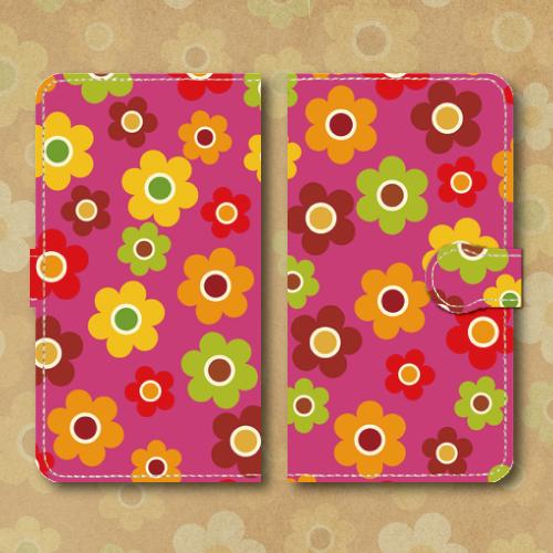 レトロポップ/花柄/ピンク色系/昭和レトロ/Androidスマホケース(手帳型ケース)