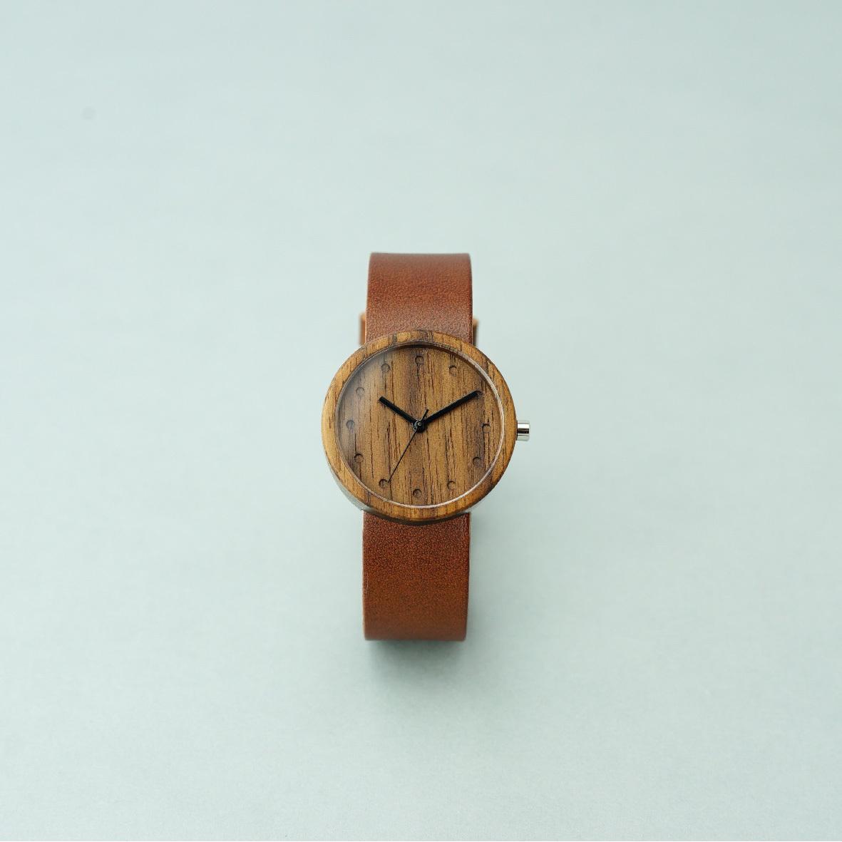 Walnut wood - Organic leather Dark Brown - M