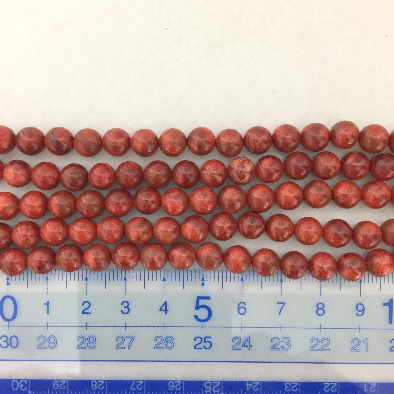 スポンジサンゴ 約7~7.5mm 中間色~濃色 連材【190016B】