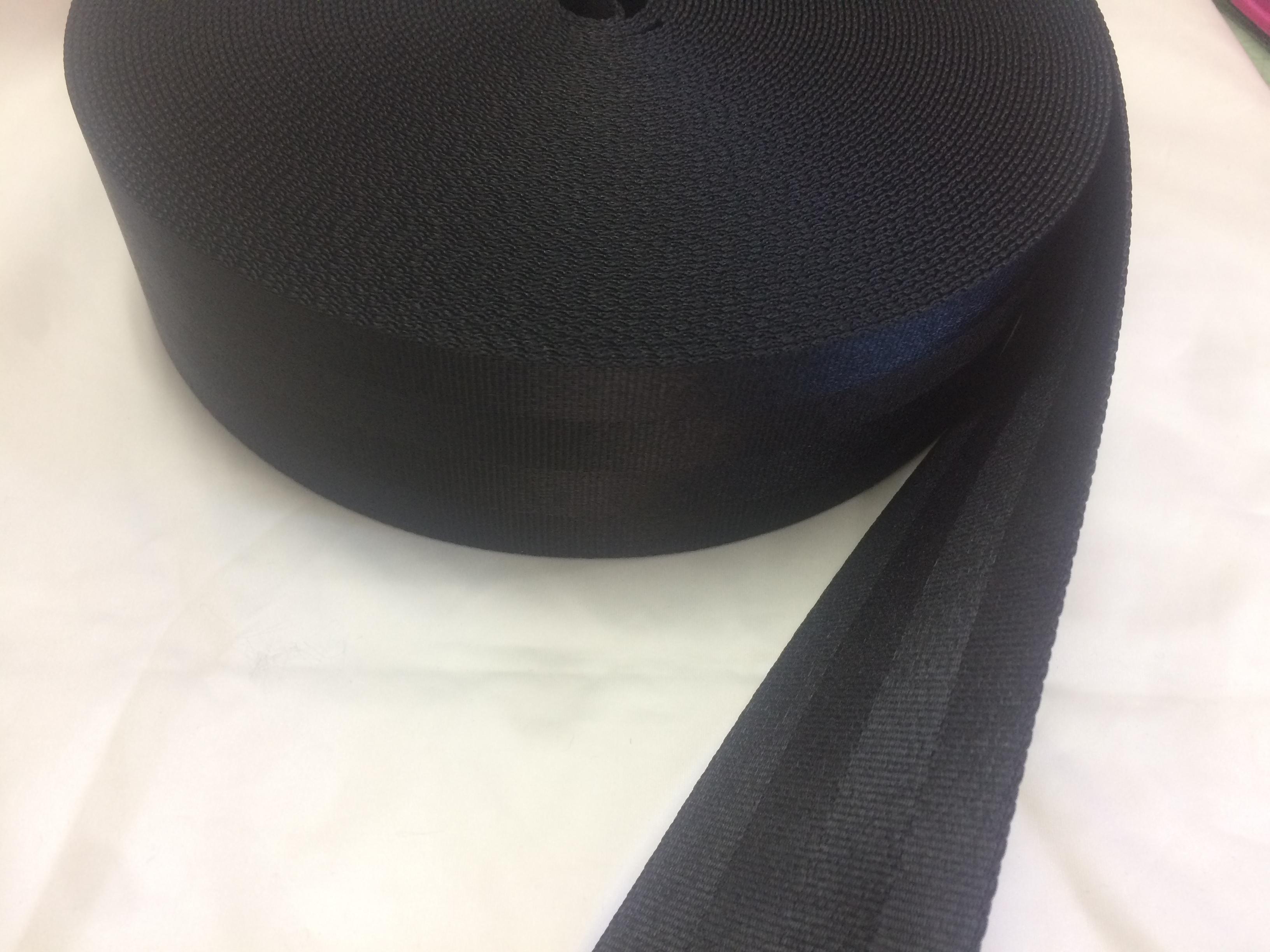 売れています!ナイロン 二つ山織 50㎜幅 1.6㎜厚 黒 1巻50m