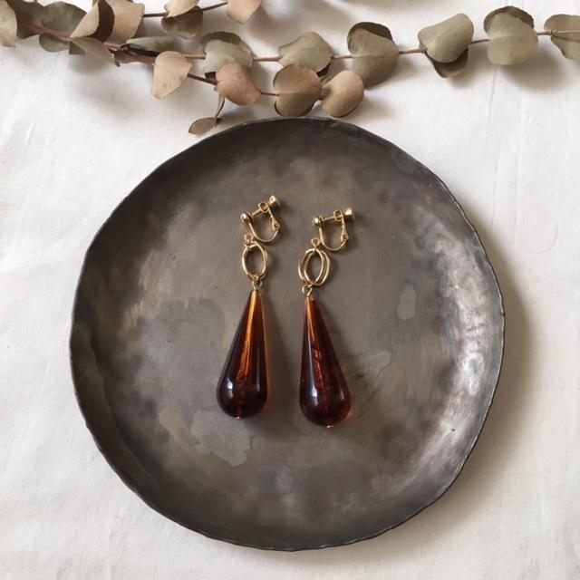 Vintage drop tortoiseshell beads イヤリング