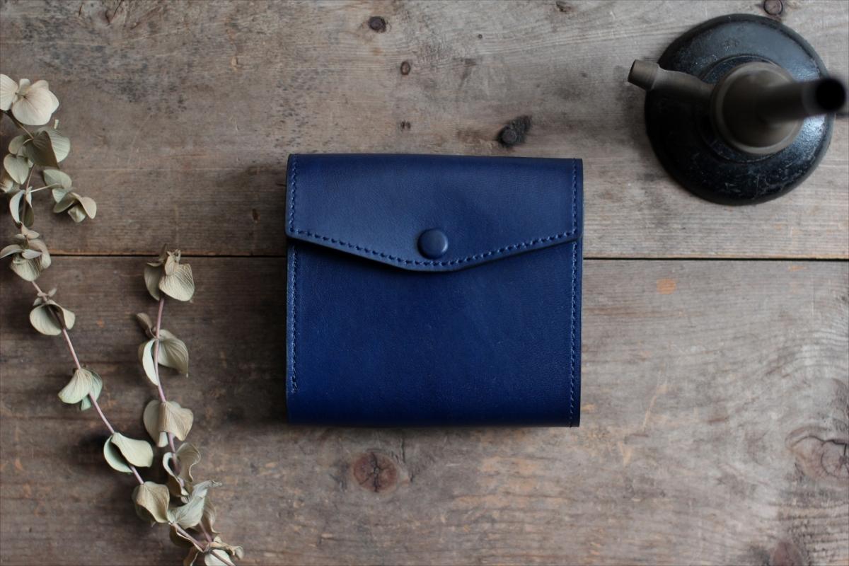 藍染革[migaki] コンパクト財布