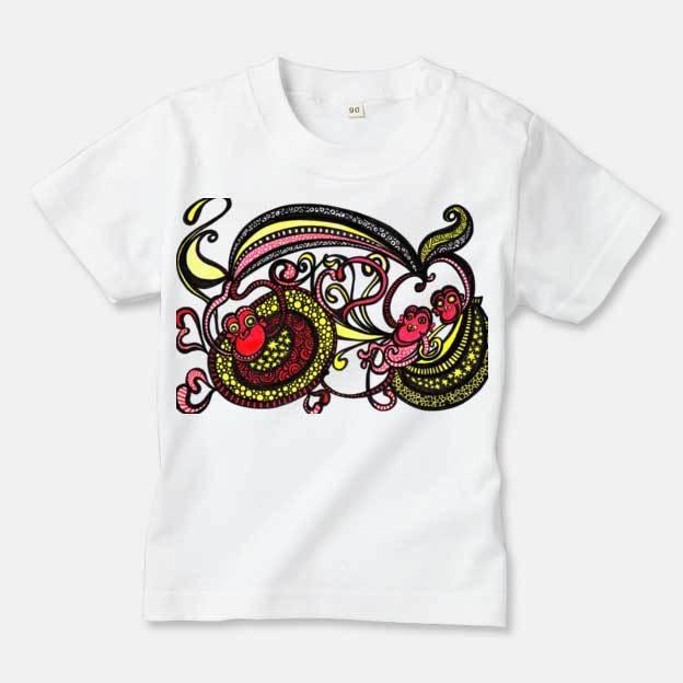 ◆キッズTシャツ 70.80.90サイズ対応◆ ハッピーモンキー ホワイト