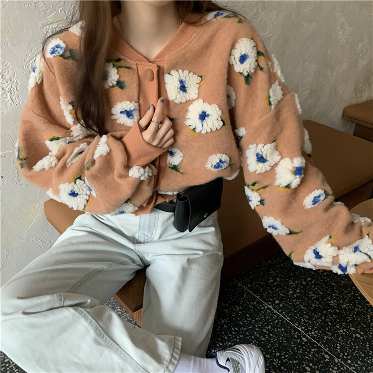 〈カフェシリーズ〉もこもこお花のショートカーディガン【moco moco flower short cardigan】