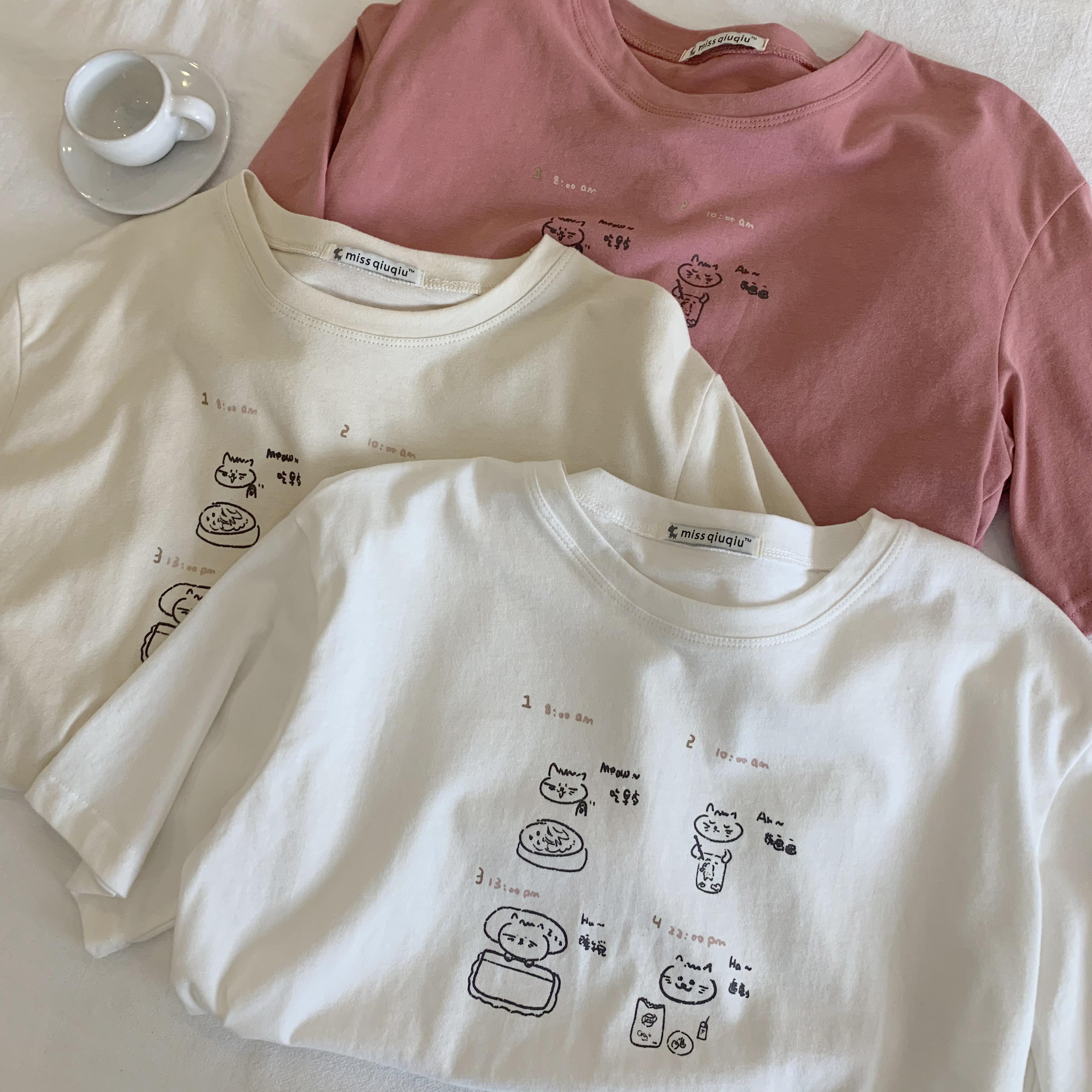 〈カフェシリーズ〉ねこの1日ラウンドネックT【cat dairy round neck t-shirt】