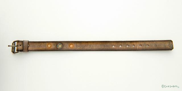 木版染革ベルトベージュ丸M