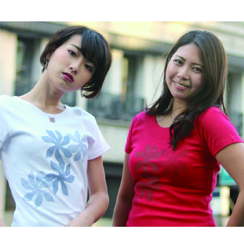 APPLE HOUSE / ZA TOKYO  100%made in Japan.根強い人気の後V襟・ハワイアンデザインのフレンチ袖後V襟Tシャツ(4pcsプルメリア) No.134276