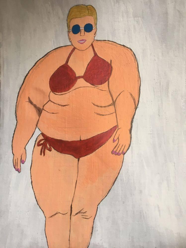 【8/29-9/8期間限定!菊沢将憲最初期絵画展作品】     マグダラのマリア    305mm×400mm  ダンボールにペイント 額縁なし