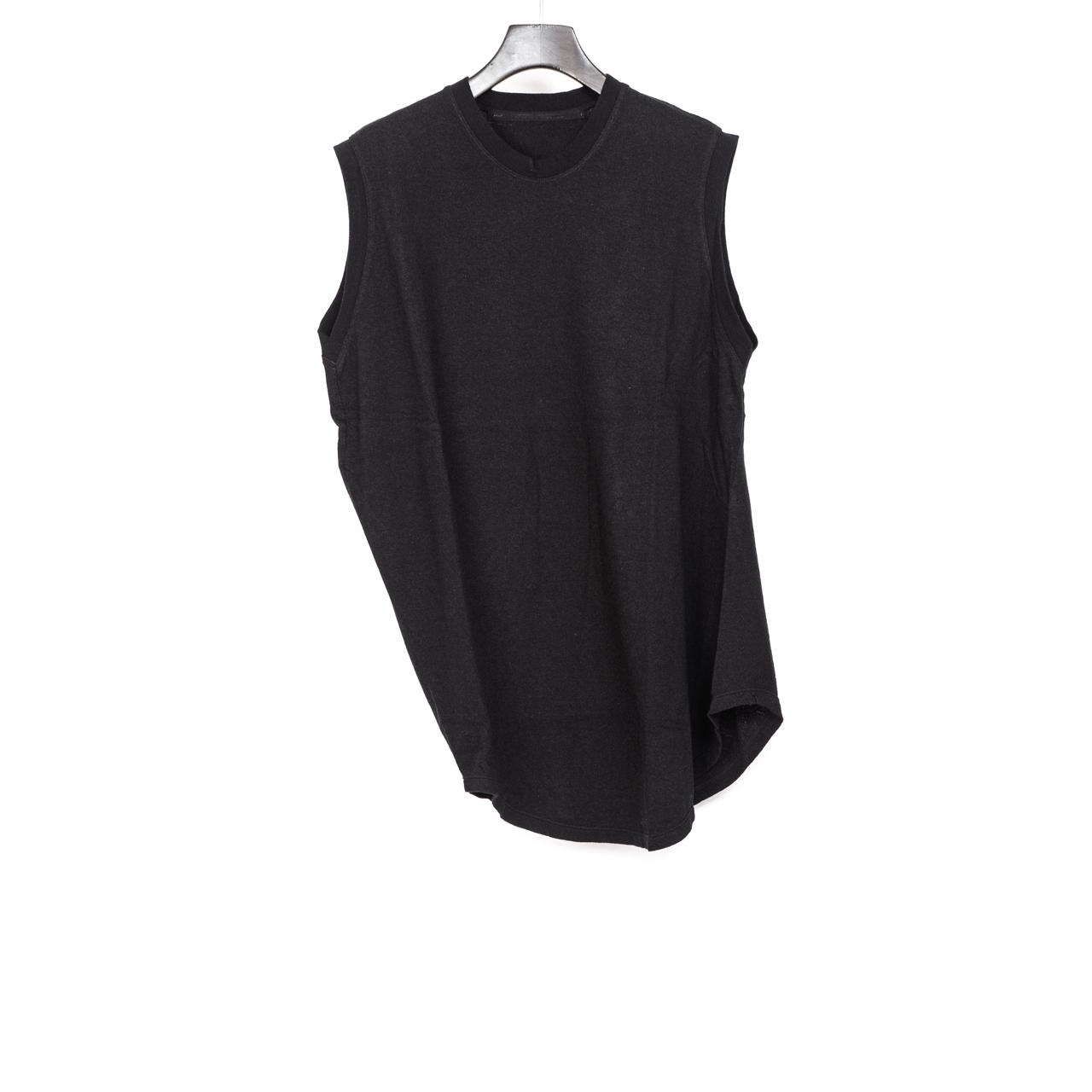 697CUM11-BLACK / サイドドレープノースリーブシャツ