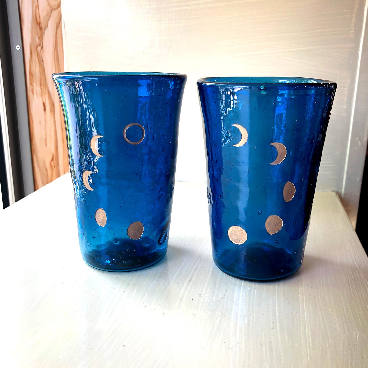 月の満ち欠けペアグラス(2個セット)紺 片方に鳥模様入り
