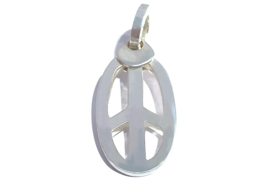 楕円ピースマークのペンダントヘッド