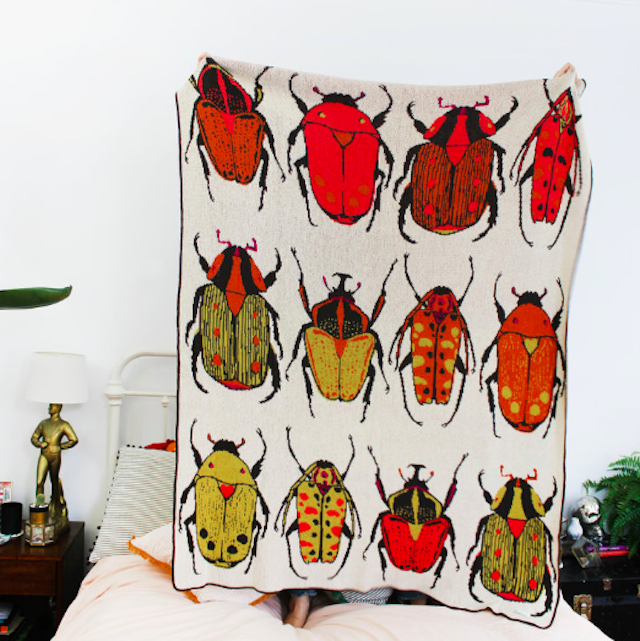 CALHOUN&CO. BEETLE PARTY KNIT THROW BLANKET ブランケット