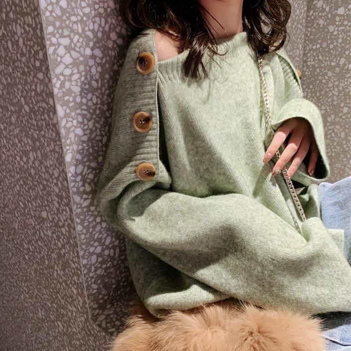 【送料無料 】ボタンデザインが素敵 ♡ きれいめ カジュアル 大人可愛い ゆるダボ ニット セーター トップス