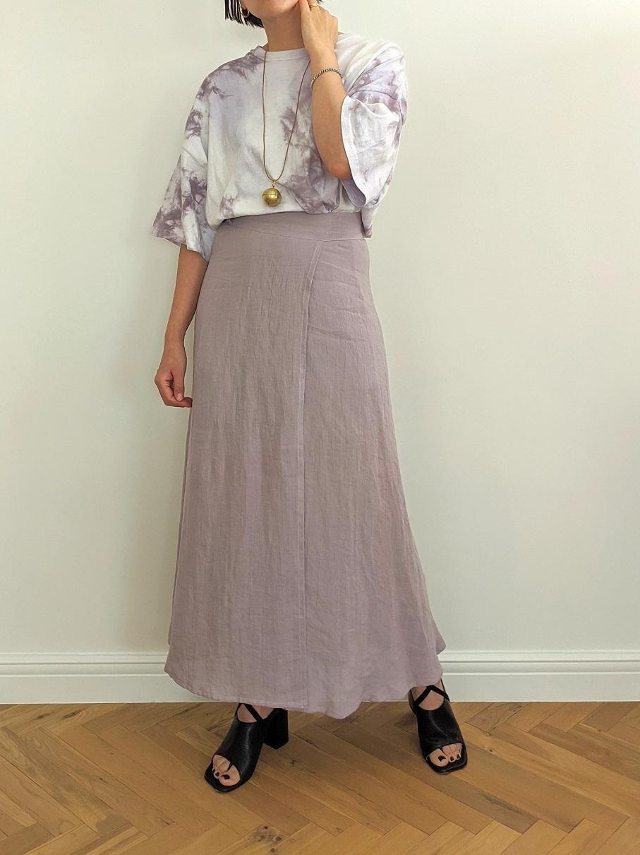 French Linen Wrap Skirt - Lavender