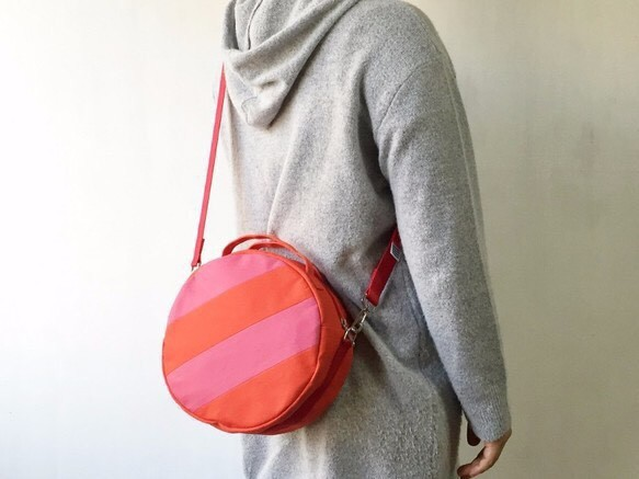 【受注製作】DOTLINE BAG | TOMATO RED × STRAWBERRY PINK
