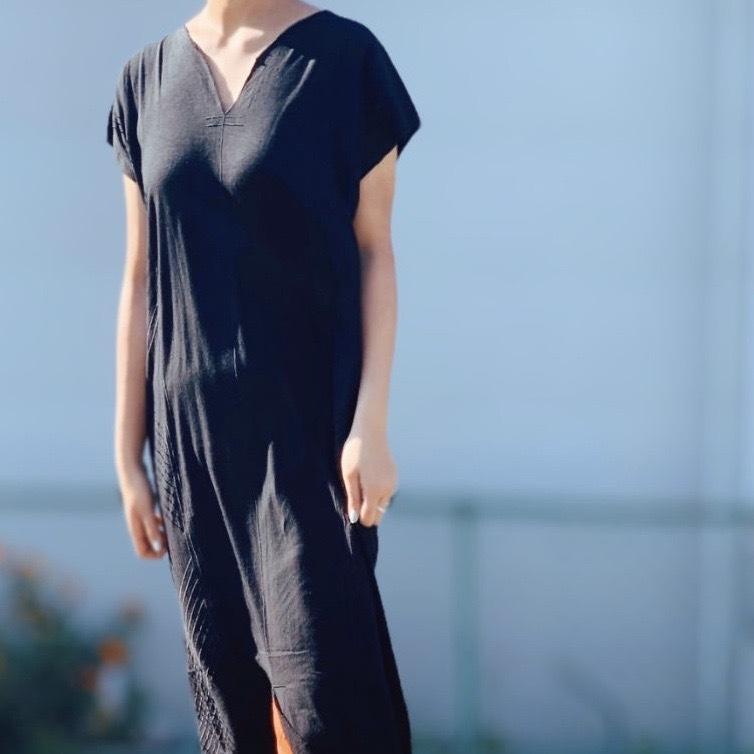 BAD/【 DAZZLE 】Side Embroidery Kaftan Dress (0S33008E) #BLACK