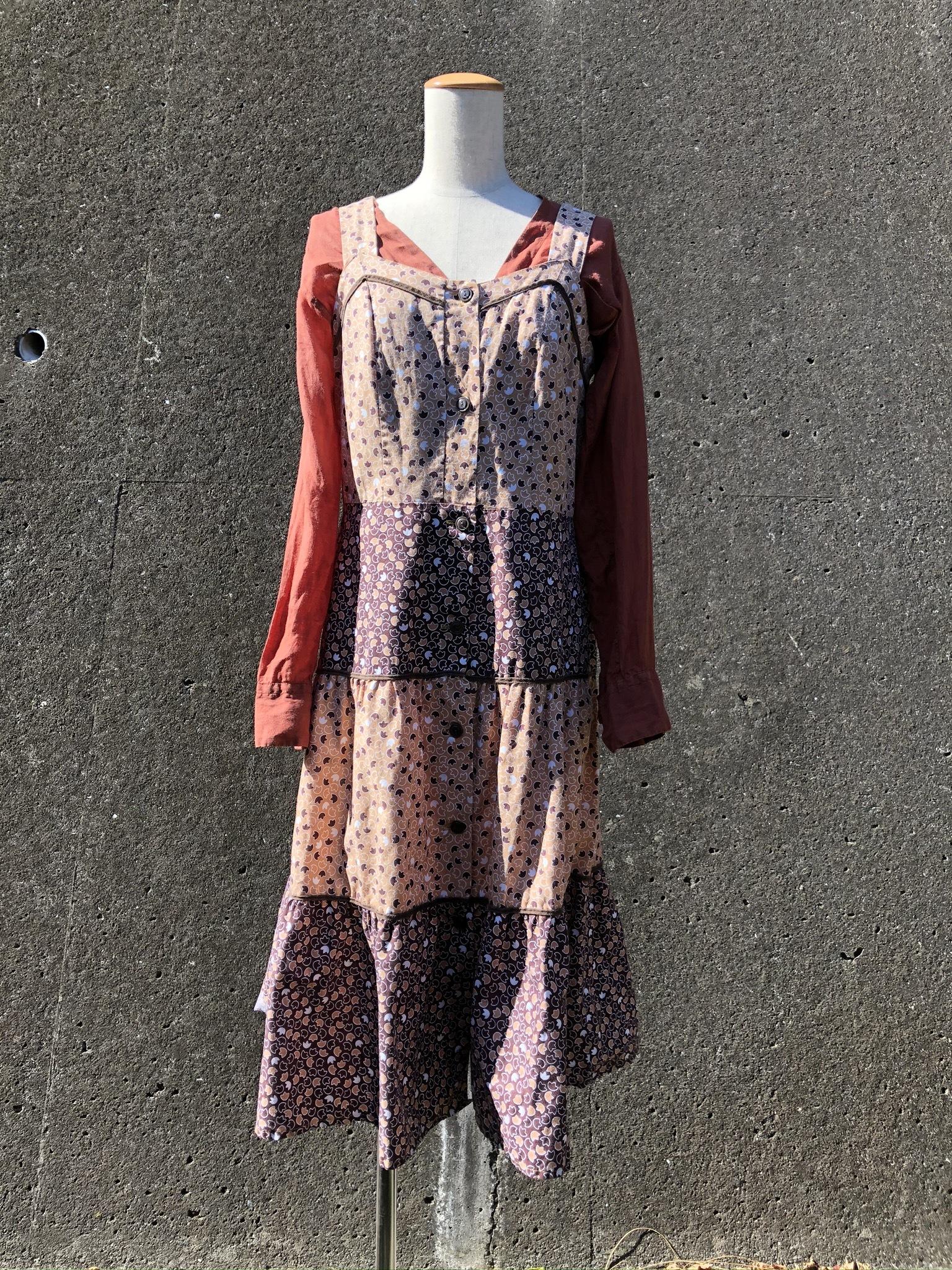 brown camisole cotton long dress